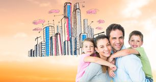 Portrait of happy parents piggybacking children against drawn city. Digital composite of Portrait of happy parents piggybacking children against drawn city Royalty Free Stock Image