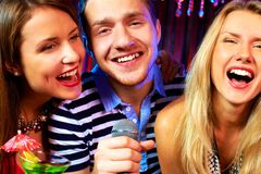 In karaoke bar Stock Photos