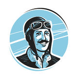 Portrait of happy pilot in cap. Aviator, airman label or logo. Mascot vector illustration. Isolated on white background Royalty Free Stock Photo