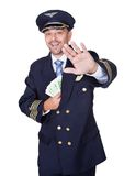 Portrait Of Happy Pilot Holding Euros Stock Photography