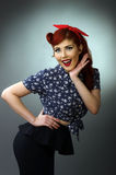 Portrait of a happy pin up girl Royalty Free Stock Photography