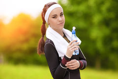 Portrait of Happy Positively Looking Caucasian Fitness Woman Wit Royalty Free Stock Photos