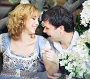POrtrait of happy pregnant family Royalty Free Stock Photos