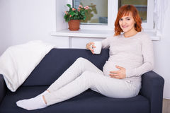 Portrait of happy pregnant woman drinking tea or coffee at home Royalty Free Stock Photo