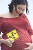 Portrait happy pregnant woman outdoor Royalty Free Stock Photography