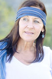 Portrait happy pretty mature woman outdoor Royalty Free Stock Photography