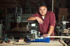 Portrait of happy professional carpenter. Stock Images
