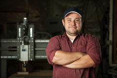 Portrait of happy professional carpenter. Royalty Free Stock Photography