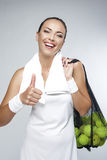Portrait of Happy Professional Female Tennis Player With Mesh of Stock Photo
