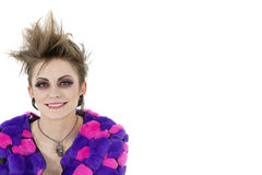 Portrait of a happy punk woman over white background Royalty Free Stock Image