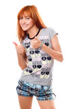 Portrait of happy red-haired girl Stock Photos