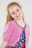 Portrait of Happy Redhaired Caucasian Girl wearing Polka dotted Royalty Free Stock Photo