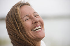 Portrait Happy relaxed senior woman outdoor Royalty Free Stock Photos