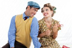 Portrait of Happy Retro Couple Royalty Free Stock Images