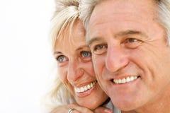 Portrait of a happy romantic couple. Closeup portrait of a happy romentic couple royalty free stock images