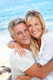 Portrait of a happy romantic couple. Closeup portrait of a happy romentic couple outdoors royalty free stock photo