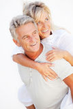 Portrait of a happy romantic couple. Closeup portrait of a happy romentic couple stock photos