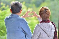 Portrait of happy romantic senior couple making heart shape with hands Stock Photo