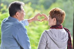 Portrait of happy romantic senior couple making heart shape with hands Stock Images