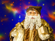 Portrait of happy Santa Claus and big bag with gifts Stock Images