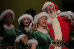 Portrait of happy Santa Girls in Smile Stock Image