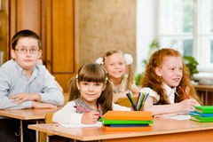 Portrait of happy school children Stock Photos
