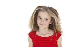 Portrait of happy school girl over white background Stock Photo