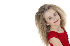Portrait of happy school girl posing over white background Royalty Free Stock Photo
