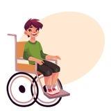 Portrait of happy school kid sitting in wheelchair Stock Photos
