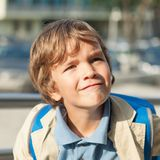 Portrait of happy schoolboy with  backpack Stock Image