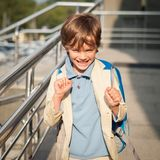 Portrait of happy schoolboy with  backpack Stock Photography
