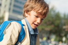 Portrait of happy schoolboy with  backpack Royalty Free Stock Image