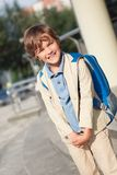 Portrait of happy schoolboy with  backpack Stock Photo