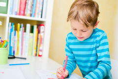 Portrait of happy schoolkid at home Royalty Free Stock Photos