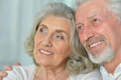 Portrait of a happy senior couple Stock Photos