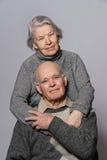Portrait of a happy senior couple embracing stock image