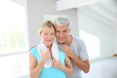 Portrait of happy senior couple after excercising Royalty Free Stock Image