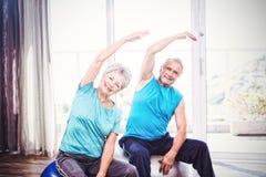 Portrait of happy senior couple exercising. Portrait of happy senior couple performing exercise at home Royalty Free Stock Photo