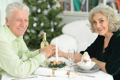 Seniors have a Christmas dinner Royalty Free Stock Images