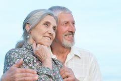 Portrait of happy senior couple hugging against royalty free stock photography