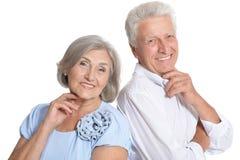 Happy senior couple. Portrait of happy senior couple isolated on white background Royalty Free Stock Images