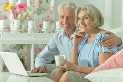 Portrait of happy senior couple with laptop royalty free stock photo