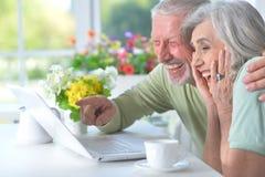 Portrait of happy senior couple with laptop royalty free stock photos