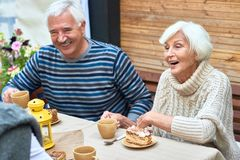 Happy Senior Couple Enjoying Family Dinner. Portrait of happy senior couple laughing enjoying dinner with friends and family drinking tea with cakes on outdoor Stock Images