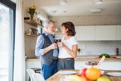 A portrait of senior couple in love indoors at home, clinking glasses. royalty free stock image