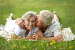 Portrait of happy senior couple lying in summer park stock image