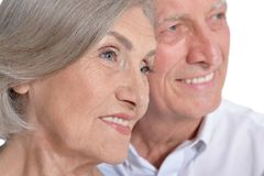 Portrait of happy senior couple. Isolated on white background Royalty Free Stock Images