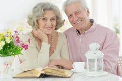 Portrait of happy senior couple reading book stock image