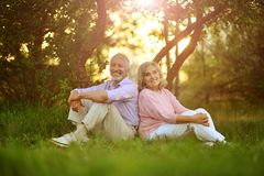 Portrait of happy senior couple resting in spring park. Happy senior couple resting in spring park stock photography