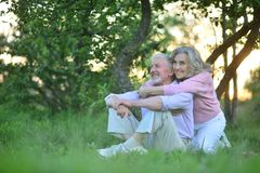 Portrait of happy senior couple resting in spring park. Happy senior couple resting in spring park royalty free stock photo